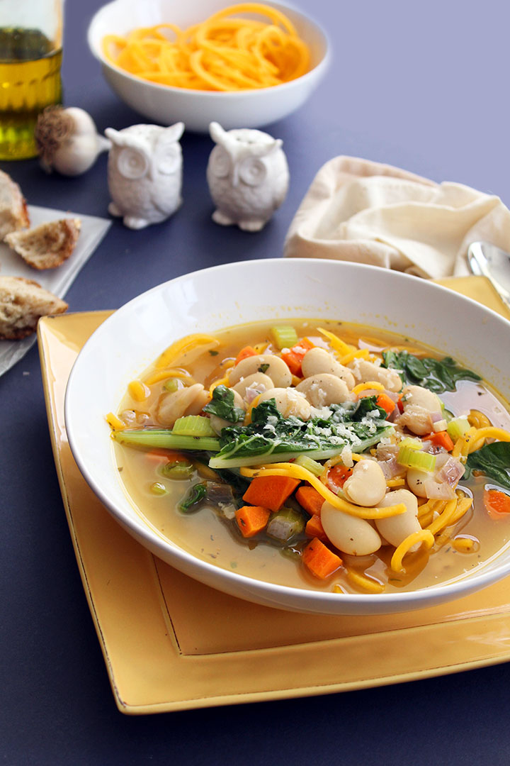 Butternut Squash Noodle Autumn Soup with Swiss Chard and Butter Beans ...